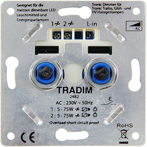 Tradim duo LED dimmer 2x - 2482EXOP - 8-75W