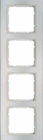 Hager Berker B3 aluminium/polarwit - afdekraam 10143904
